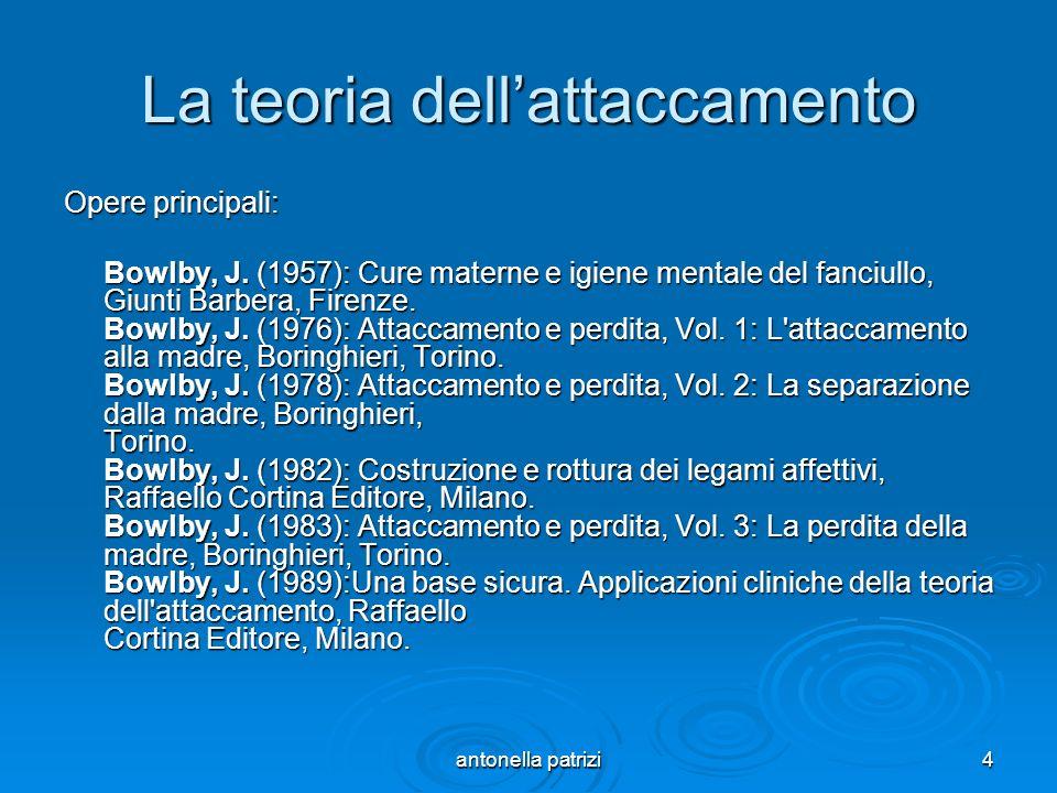 antonella patrizi4 La teoria dellattaccamento Opere principali: Bowlby, J. (1957): Cure materne e igiene mentale del fanciullo, Giunti Barbera, Firenz