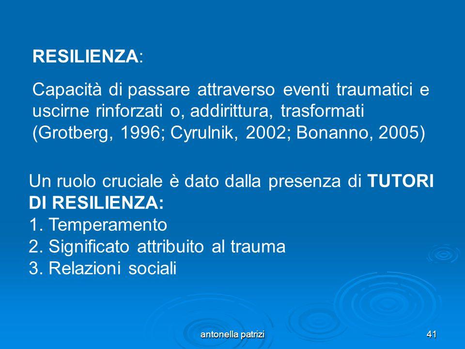 antonella patrizi41 RESILIENZA: Capacità di passare attraverso eventi traumatici e uscirne rinforzati o, addirittura, trasformati (Grotberg, 1996; Cyr