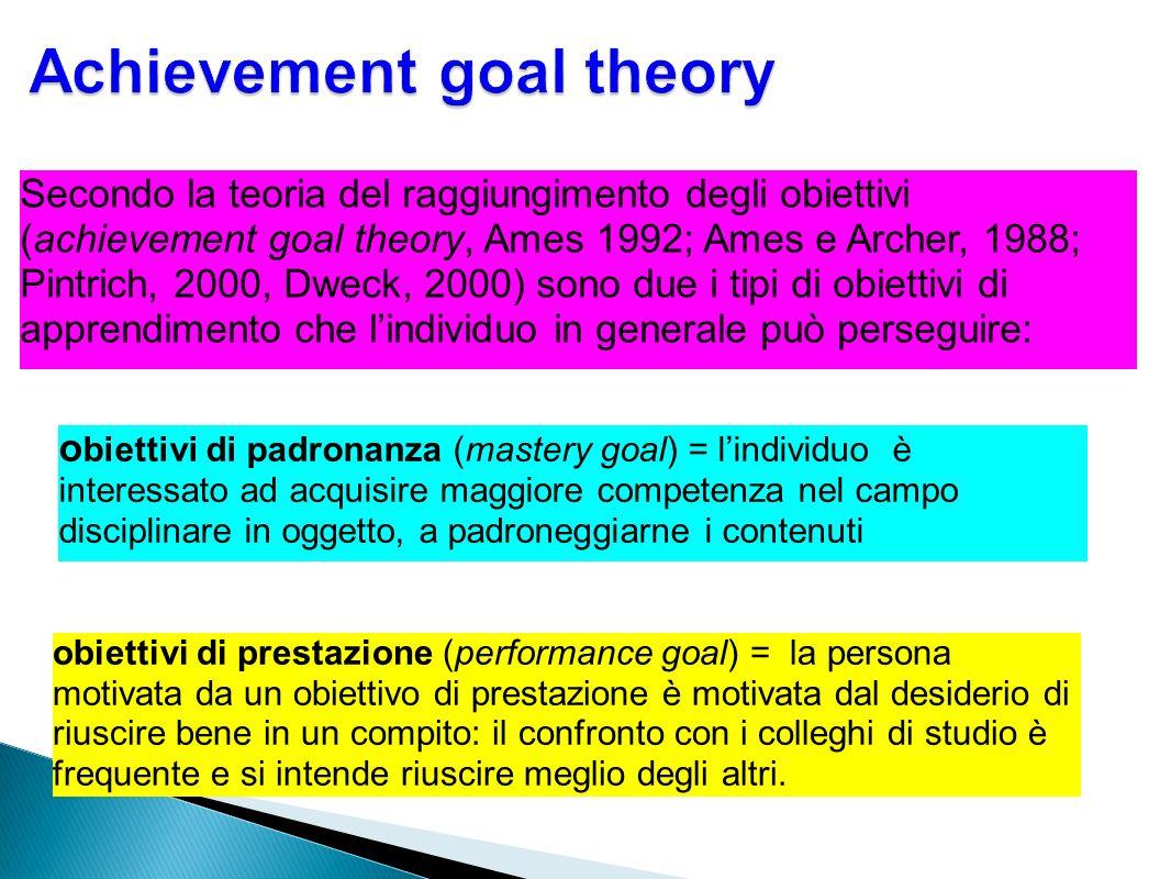 Secondo la teoria del raggiungimento degli obiettivi (achievement goal theory, Ames 1992; Ames e Archer, 1988; Pintrich, 2000, Dweck, 2000) sono due i