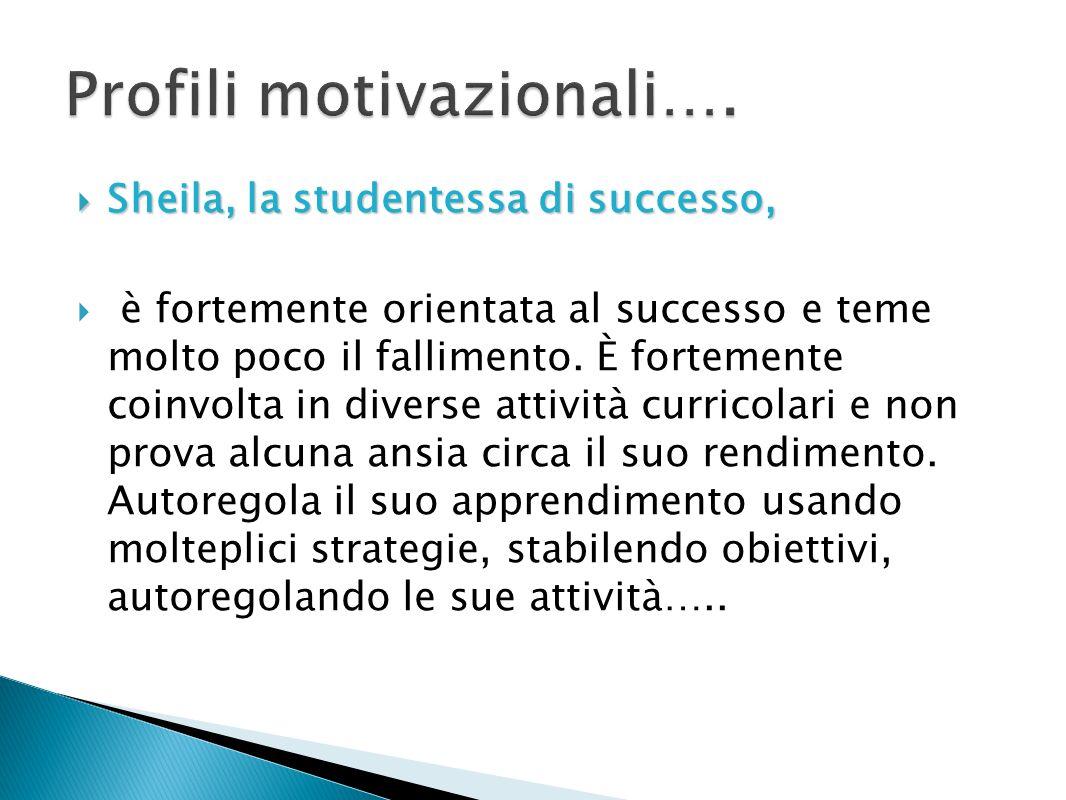 Sheila, la studentessa di successo, Sheila, la studentessa di successo, è fortemente orientata al successo e teme molto poco il fallimento. È fortemen