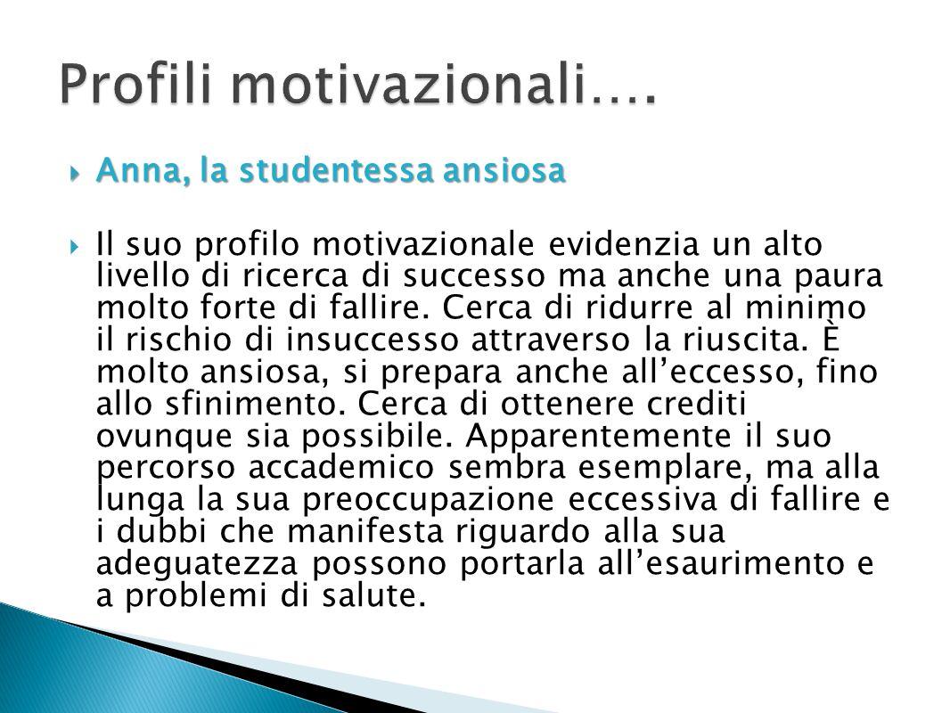 Anna, la studentessa ansiosa Anna, la studentessa ansiosa Il suo profilo motivazionale evidenzia un alto livello di ricerca di successo ma anche una p