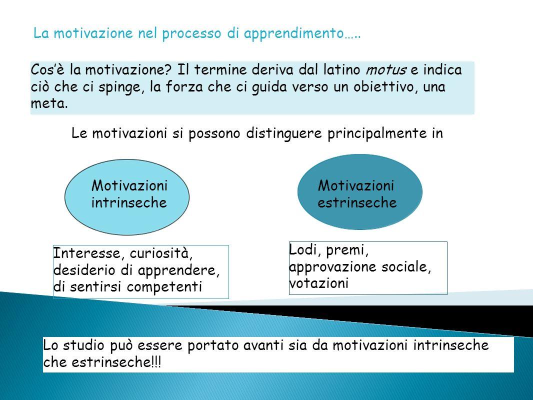 La motivazione nel processo di apprendimento….. Cosè la motivazione? Il termine deriva dal latino motus e indica ciò che ci spinge, la forza che ci gu