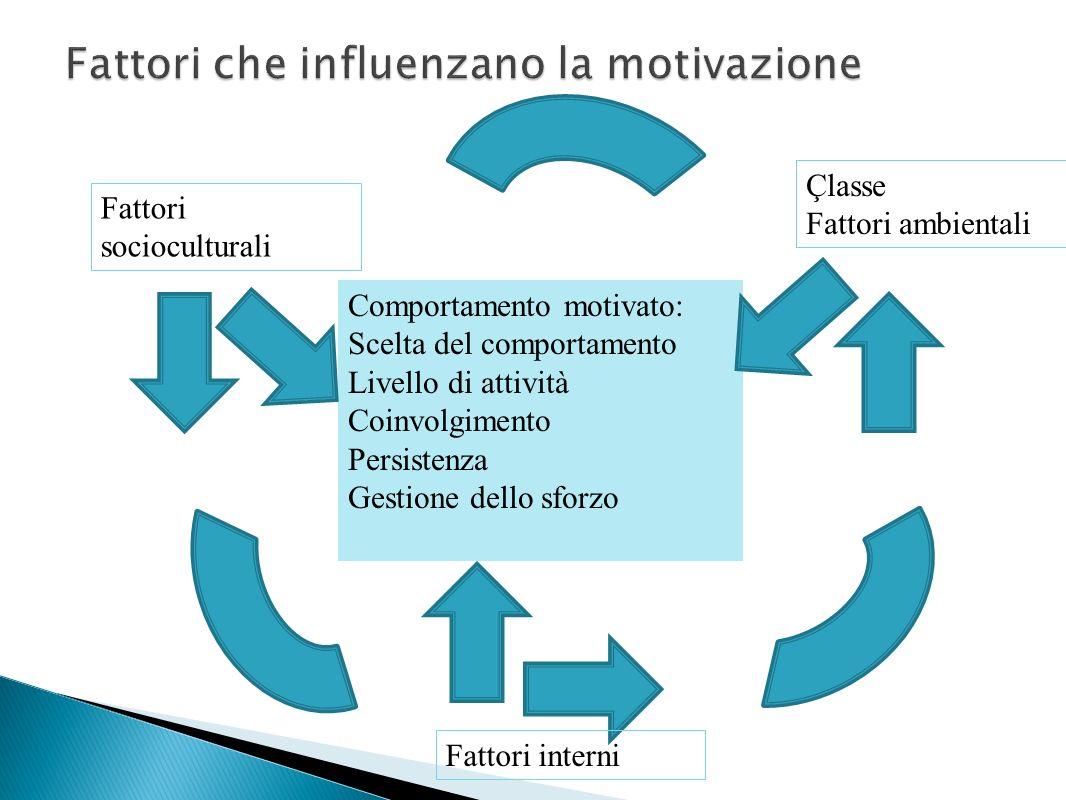 Comportamento motivato: Scelta del comportamento Livello di attività Coinvolgimento Persistenza Gestione dello sforzo Çlasse Fattori ambientali Fattor