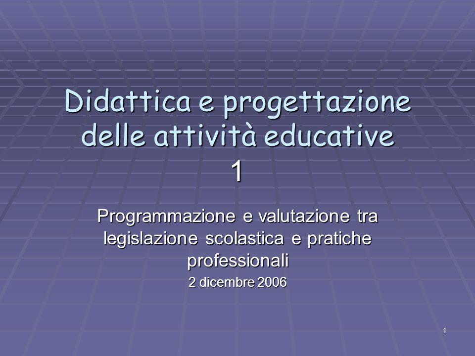 1 Didattica e progettazione delle attività educative 1 Programmazione e valutazione tra legislazione scolastica e pratiche professionali 2 dicembre 2006