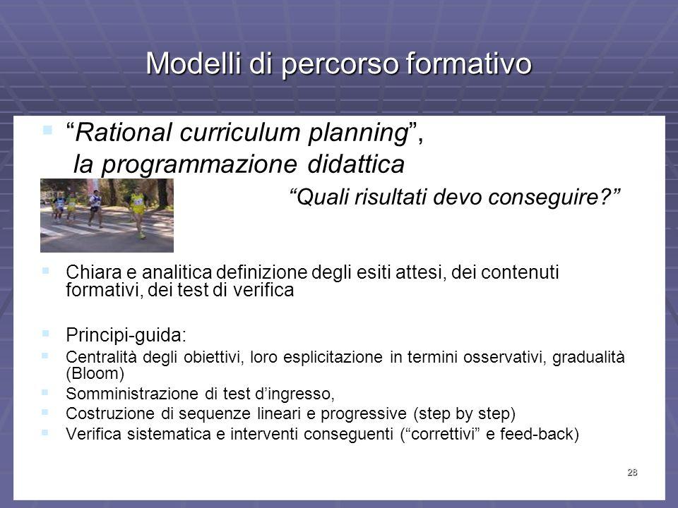 28 Modelli di percorso formativo Rational curriculum planning,Rational curriculum planning, la programmazione didattica la programmazione didattica Quali risultati devo conseguire.