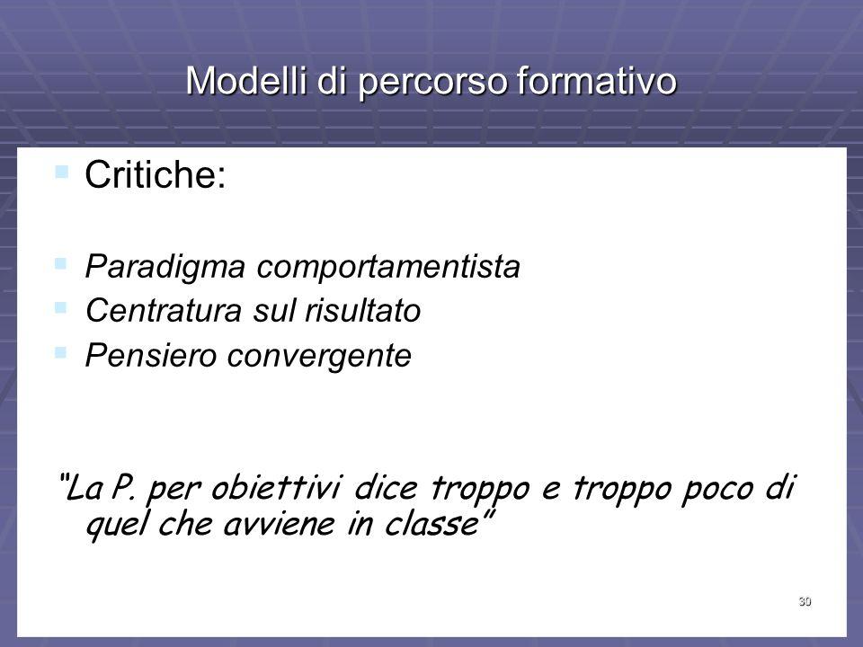 30 Modelli di percorso formativo Critiche: Critiche: Paradigma comportamentista Paradigma comportamentista Centratura sul risultato Centratura sul risultato Pensiero convergente Pensiero convergente La P.