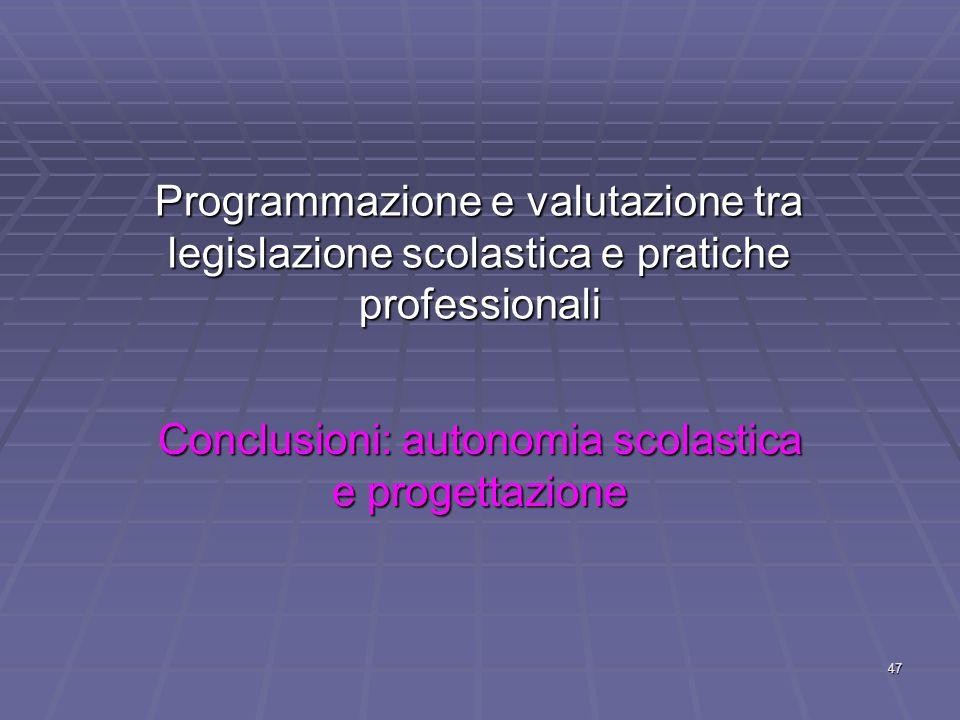47 Programmazione e valutazione tra legislazione scolastica e pratiche professionali Conclusioni: autonomia scolastica e progettazione