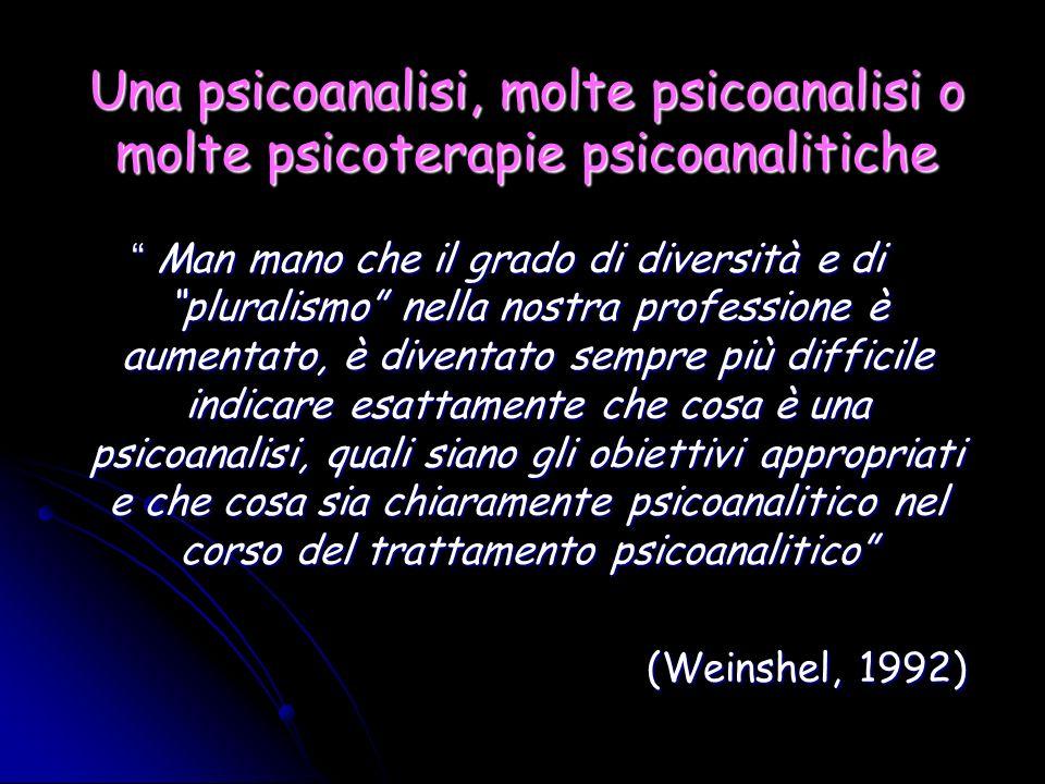 Una psicoanalisi, molte psicoanalisi o molte psicoterapie psicoanalitiche Man mano che il grado di diversità e di pluralismo nella nostra professione