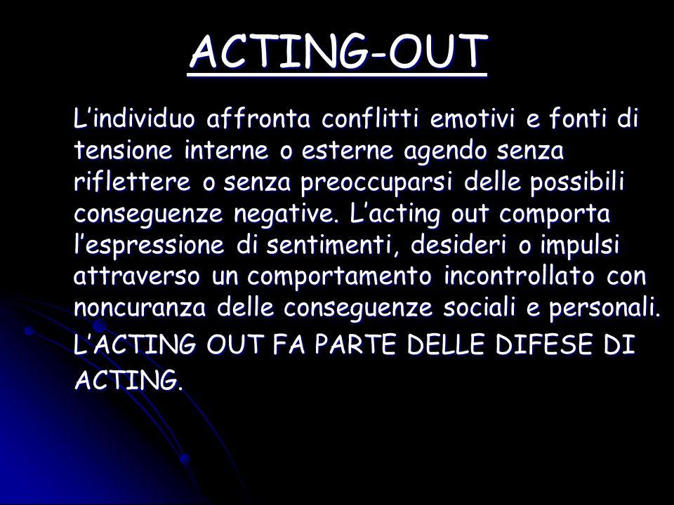 ACTING-OUT Lindividuo affronta conflitti emotivi e fonti di tensione interne o esterne agendo senza riflettere o senza preoccuparsi delle possibili co