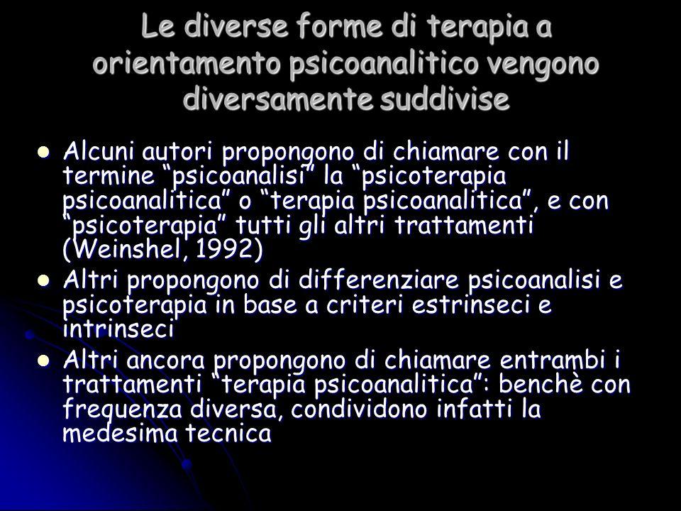 Le diverse forme di terapia a orientamento psicoanalitico vengono diversamente suddivise Alcuni autori propongono di chiamare con il termine psicoanal