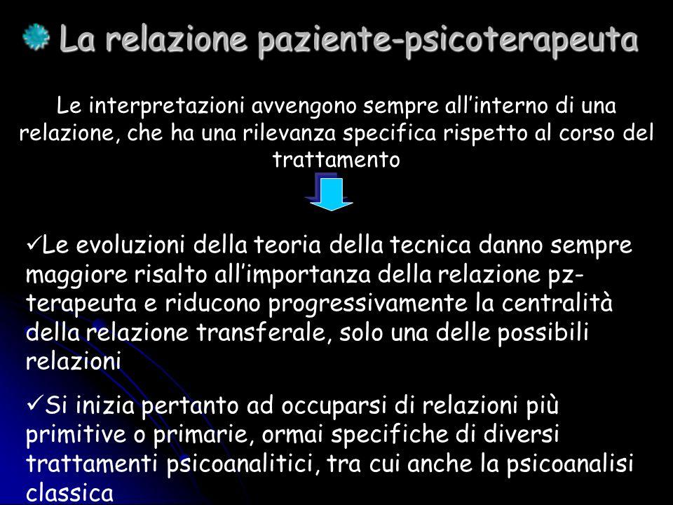 La relazione paziente-psicoterapeuta La relazione paziente-psicoterapeuta Le interpretazioni avvengono sempre allinterno di una relazione, che ha una