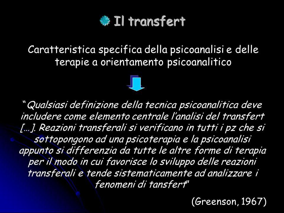 Il transfert Il transfert Caratteristica specifica della psicoanalisi e delle terapie a orientamento psicoanalitico Qualsiasi definizione della tecnic