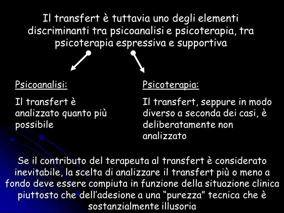Il transfert è tuttavia uno degli elementi discriminanti tra psicoanalisi e psicoterapia, tra psicoterapia espressiva e supportiva Psicoanalisi: Il tr