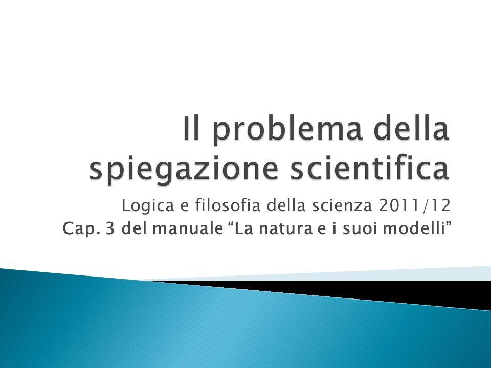 Logica e filosofia della scienza 2011/12 Cap. 4 del manuale La natura e i suoi modelli