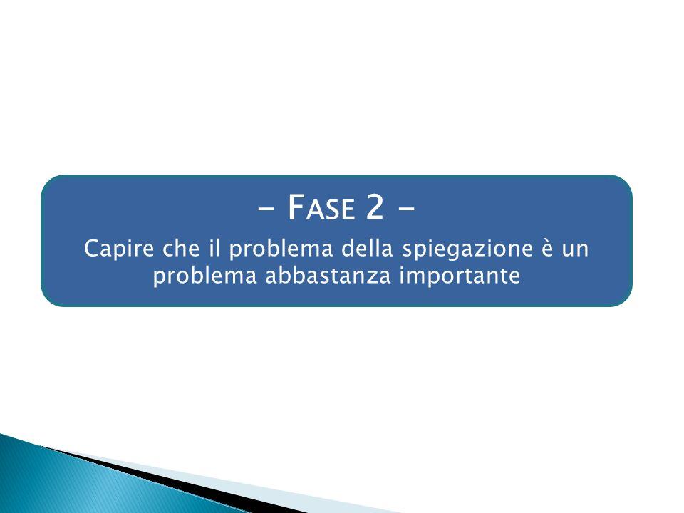 - F ASE 2 - Capire che il problema della spiegazione è un problema abbastanza importante