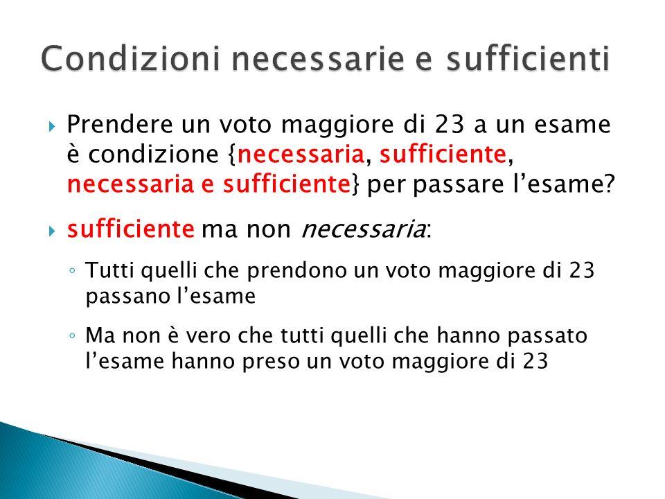 Prendere un voto maggiore di 23 a un esame è condizione {necessaria, sufficiente, necessaria e sufficiente} per passare lesame? sufficiente ma non nec