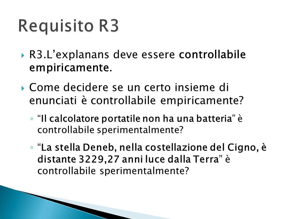 R3.Lexplanans deve essere controllabile empiricamente. Come decidere se un certo insieme di enunciati è controllabile empiricamente? Il calcolatore po