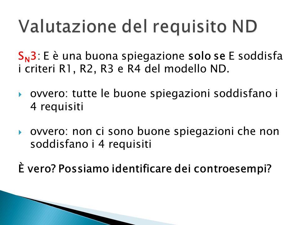 S N 3: E è una buona spiegazione solo se E soddisfa i criteri R1, R2, R3 e R4 del modello ND. ovvero: tutte le buone spiegazioni soddisfano i 4 requis