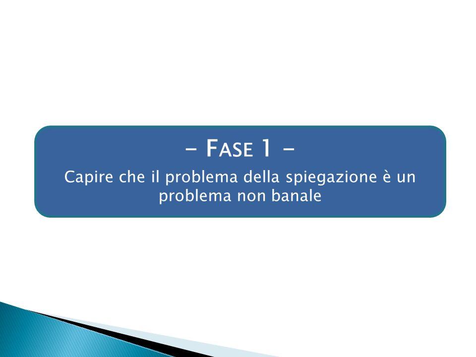 - F ASE 1 - Capire che il problema della spiegazione è un problema non banale