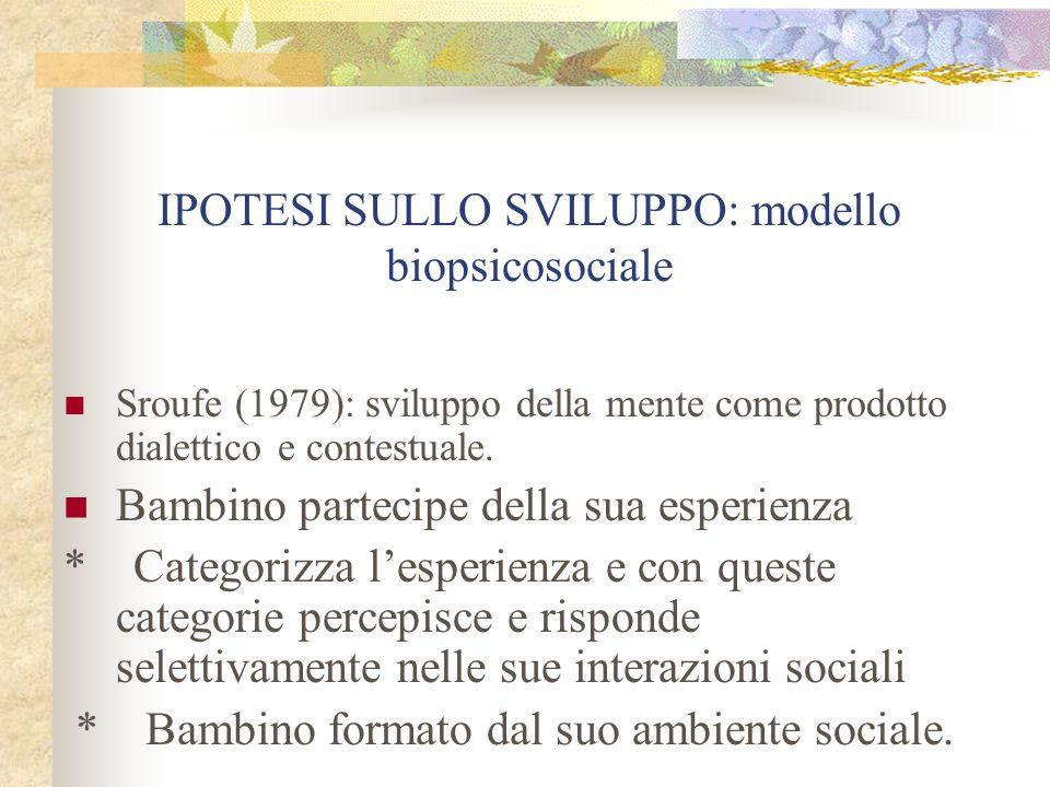 IPOTESI SULLO SVILUPPO: modello biopsicosociale Sroufe (1979): sviluppo della mente come prodotto dialettico e contestuale. Bambino partecipe della su