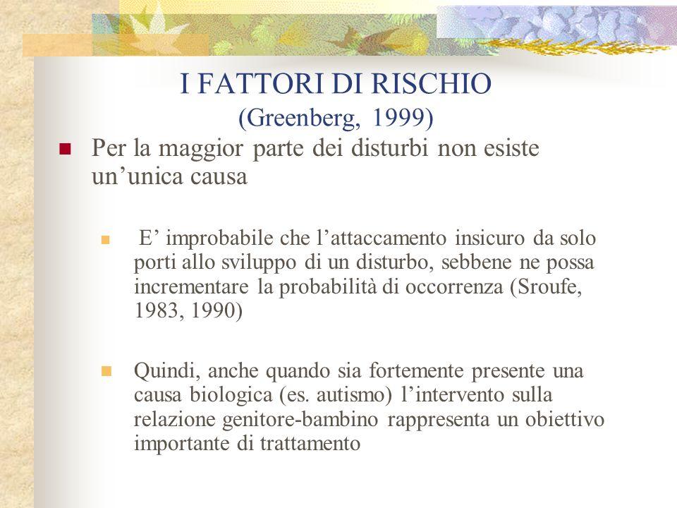 I FATTORI DI RISCHIO (Greenberg, 1999) Per la maggior parte dei disturbi non esiste ununica causa E improbabile che lattaccamento insicuro da solo por