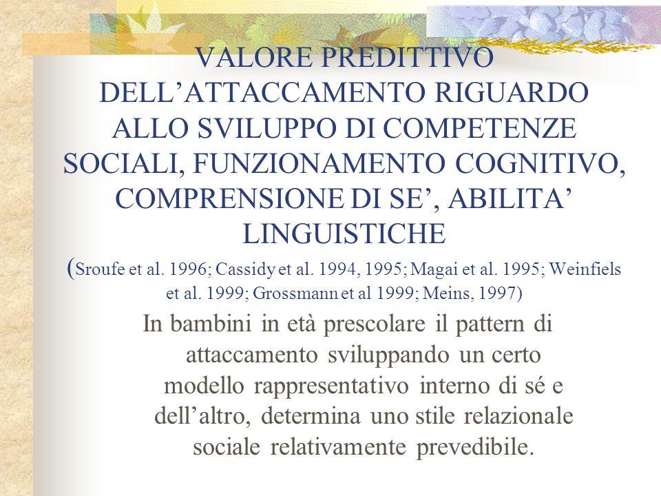 VALORE PREDITTIVO DELLATTACCAMENTO RIGUARDO ALLO SVILUPPO DI COMPETENZE SOCIALI, FUNZIONAMENTO COGNITIVO, COMPRENSIONE DI SE, ABILITA LINGUISTICHE ( S