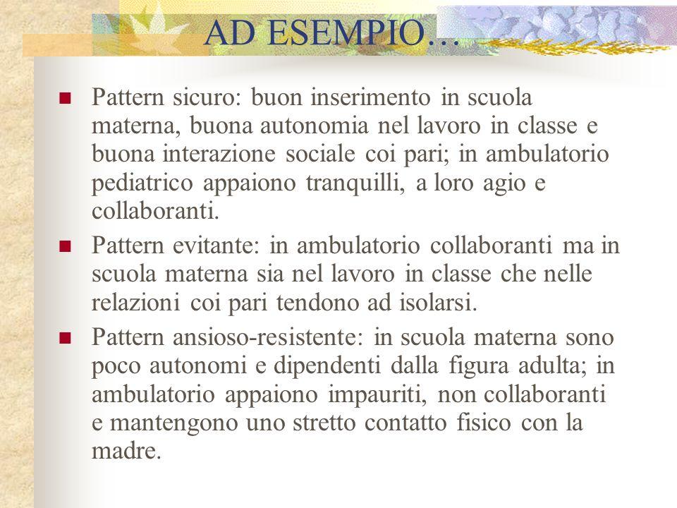 AD ESEMPIO… Pattern sicuro: buon inserimento in scuola materna, buona autonomia nel lavoro in classe e buona interazione sociale coi pari; in ambulato