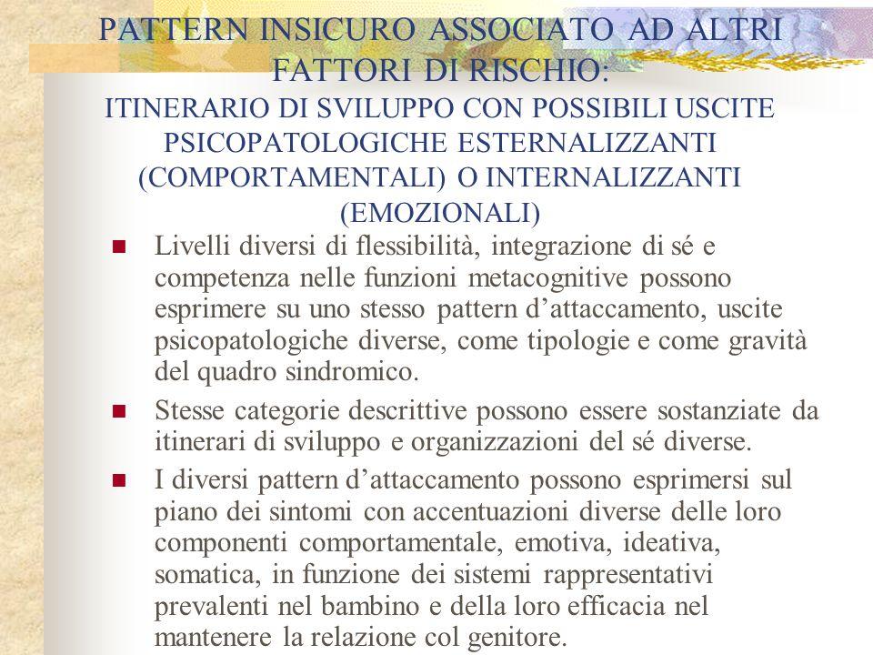 PATTERN INSICURO ASSOCIATO AD ALTRI FATTORI DI RISCHIO: ITINERARIO DI SVILUPPO CON POSSIBILI USCITE PSICOPATOLOGICHE ESTERNALIZZANTI (COMPORTAMENTALI)