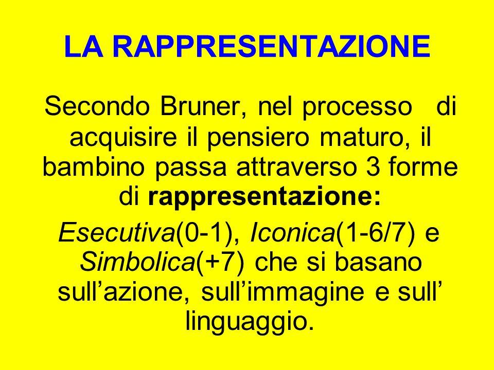 Secondo Bruner, nel processo di acquisire il pensiero maturo, il bambino passa attraverso 3 forme di rappresentazione: Esecutiva(0-1), Iconica(1-6/7)