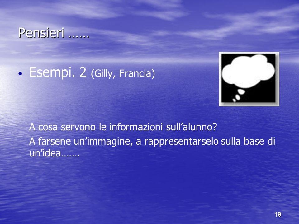 19 Pensieri …… Esempi. 2 (Gilly, Francia) A cosa servono le informazioni sullalunno.