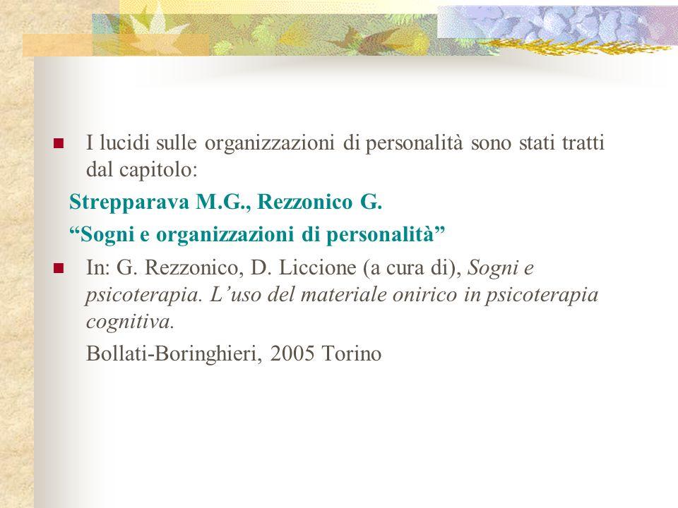 I lucidi sulle organizzazioni di personalità sono stati tratti dal capitolo: Strepparava M.G., Rezzonico G. Sogni e organizzazioni di personalità In: