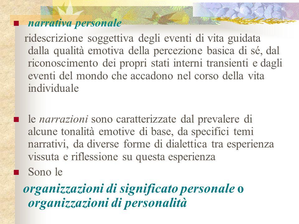 narrativa personale ridescrizione soggettiva degli eventi di vita guidata dalla qualità emotiva della percezione basica di sé, dal riconoscimento dei