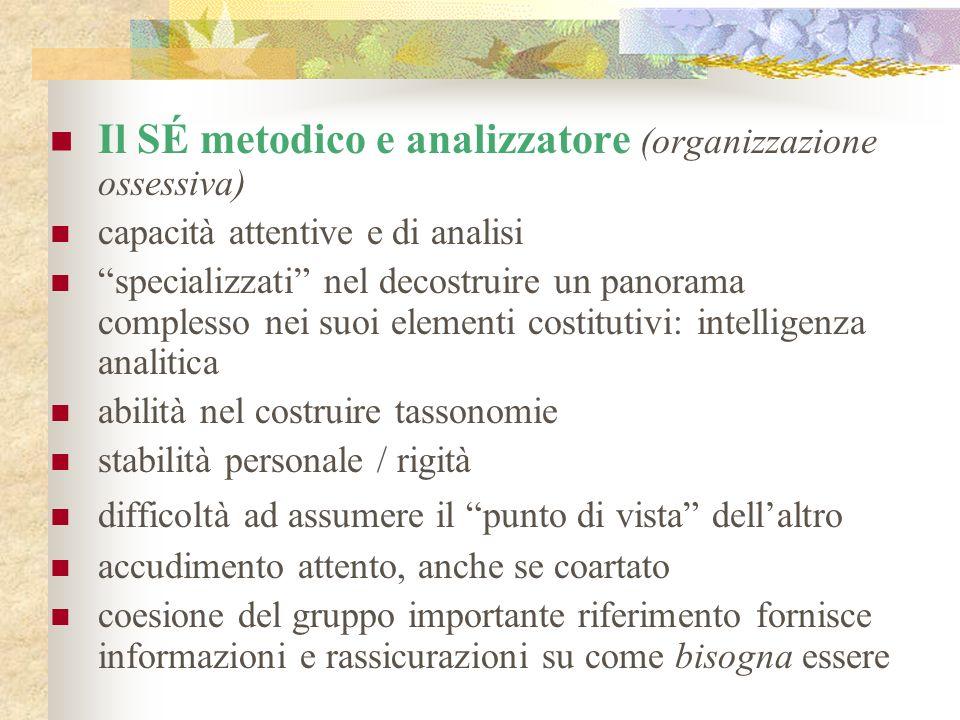 Il SÉ metodico e analizzatore (organizzazione ossessiva) capacità attentive e di analisi specializzati nel decostruire un panorama complesso nei suoi