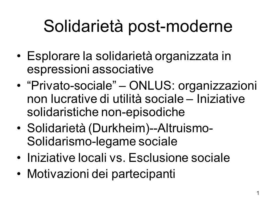 1 Solidarietà post-moderne Esplorare la solidarietà organizzata in espressioni associative Privato-sociale – ONLUS: organizzazioni non lucrative di utilità sociale – Iniziative solidaristiche non-episodiche Solidarietà (Durkheim)--Altruismo- Solidarismo-legame sociale Iniziative locali vs.
