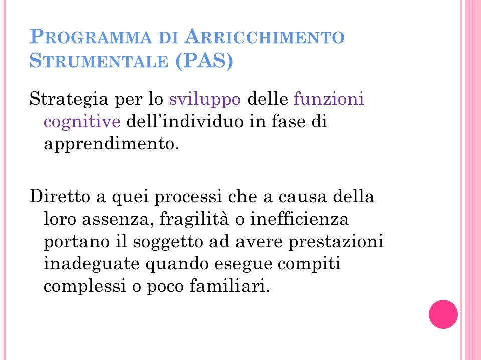 P ROGRAMMA DI A RRICCHIMENTO S TRUMENTALE (PAS) Strategia per lo sviluppo delle funzioni cognitive dellindividuo in fase di apprendimento.