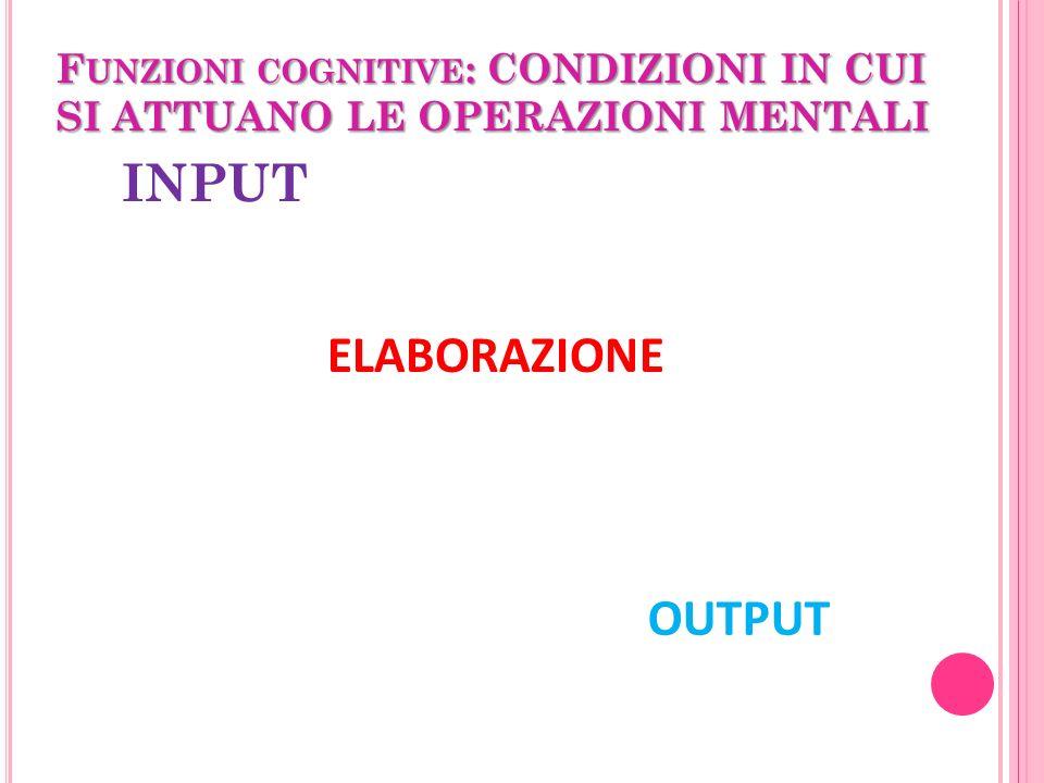 F UNZIONI COGNITIVE : CONDIZIONI IN CUI SI ATTUANO LE OPERAZIONI MENTALI INPUT ELABORAZIONE OUTPUT