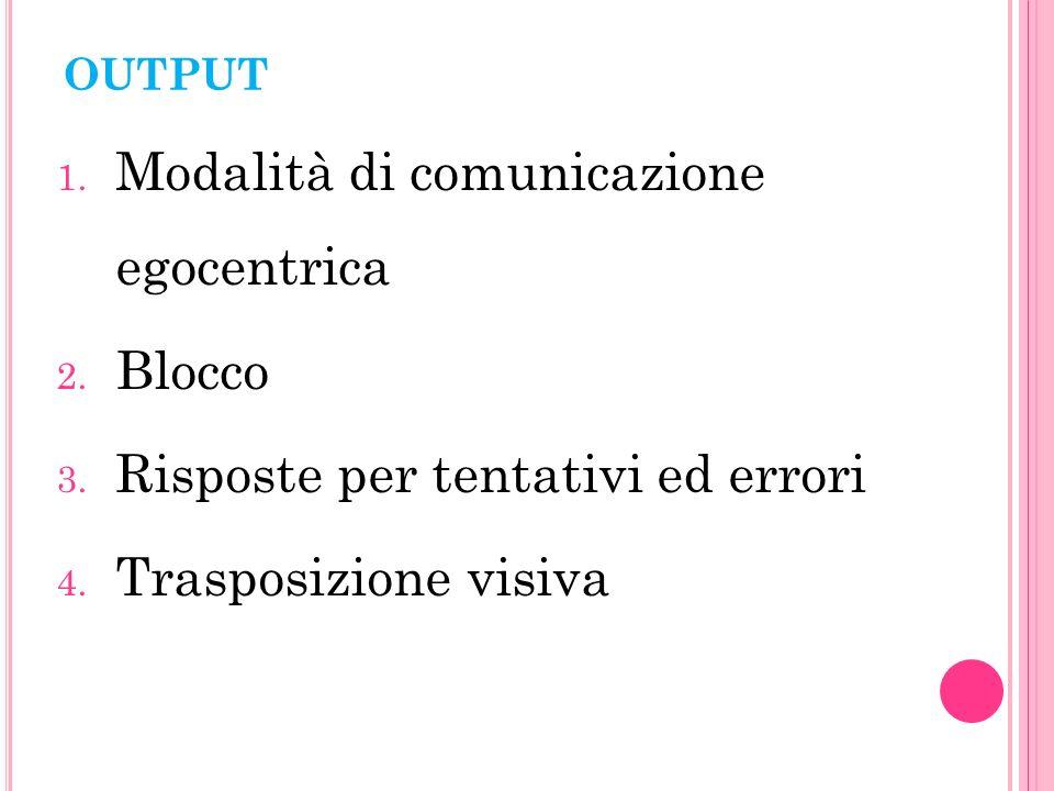 OUTPUT 1.Modalità di comunicazione egocentrica 2.