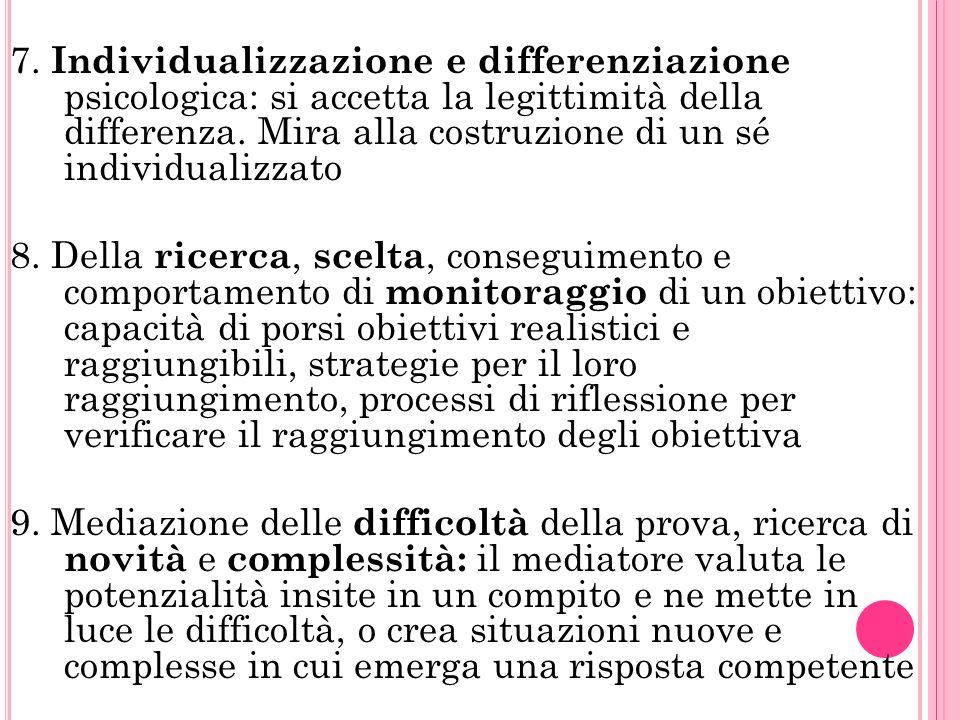 7.Individualizzazione e differenziazione psicologica: si accetta la legittimità della differenza.