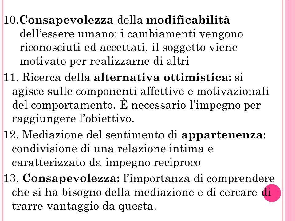10. Consapevolezza della modificabilità dellessere umano: i cambiamenti vengono riconosciuti ed accettati, il soggetto viene motivato per realizzarne