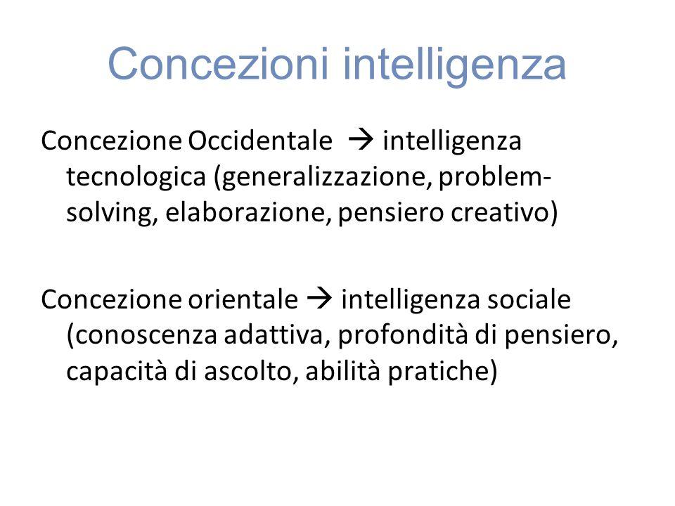 Concezioni intelligenza Concezione Occidentale intelligenza tecnologica (generalizzazione, problem- solving, elaborazione, pensiero creativo) Concezione orientale intelligenza sociale (conoscenza adattiva, profondità di pensiero, capacità di ascolto, abilità pratiche)