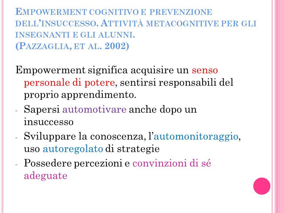 E MPOWERMENT COGNITIVO E PREVENZIONE DELL INSUCCESSO.
