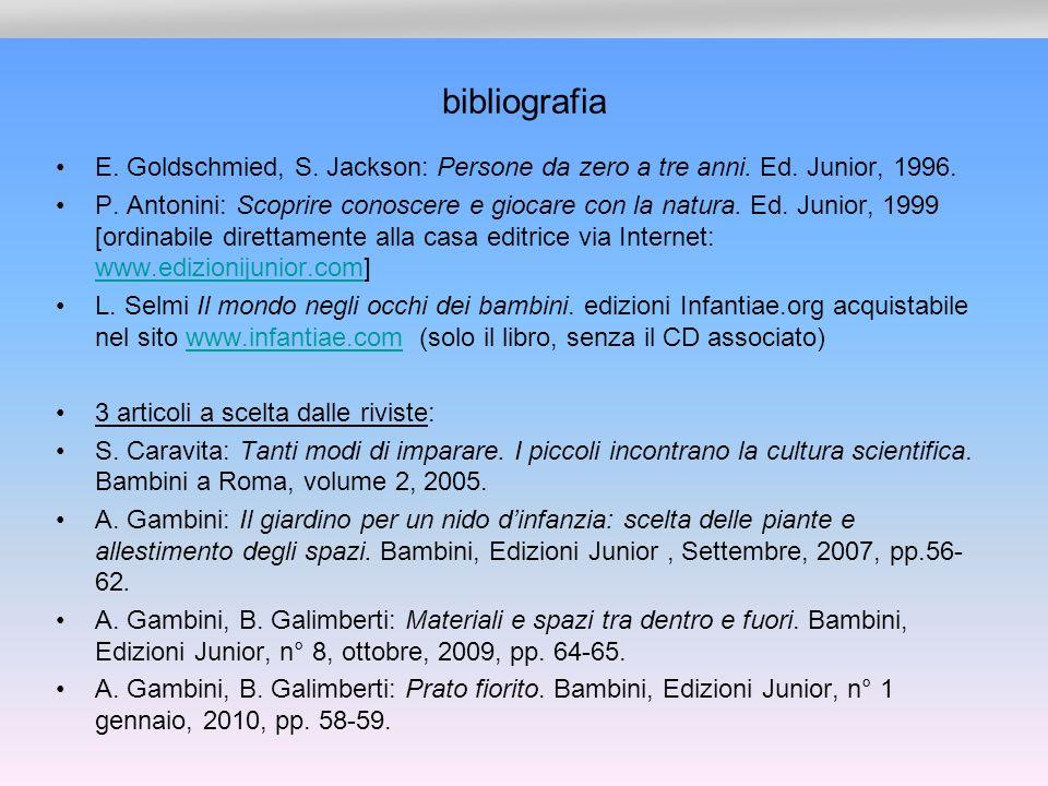 bibliografia E.Goldschmied, S. Jackson: Persone da zero a tre anni.