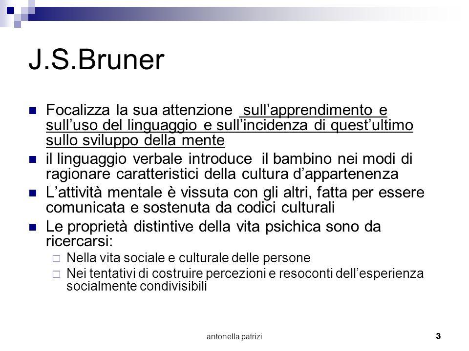 antonella patrizi3 J.S.Bruner Focalizza la sua attenzione sullapprendimento e sulluso del linguaggio e sullincidenza di questultimo sullo sviluppo del