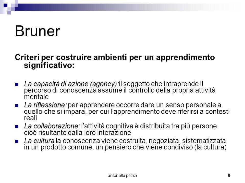 antonella patrizi8 Bruner Criteri per costruire ambienti per un apprendimento significativo: La capacità di azione (agency): La capacità di azione (ag