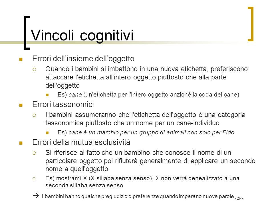 - 26 - Vincoli cognitivi Errori dellinsieme delloggetto Quando i bambini si imbattono in una nuova etichetta, preferiscono attaccare l'etichetta all'i