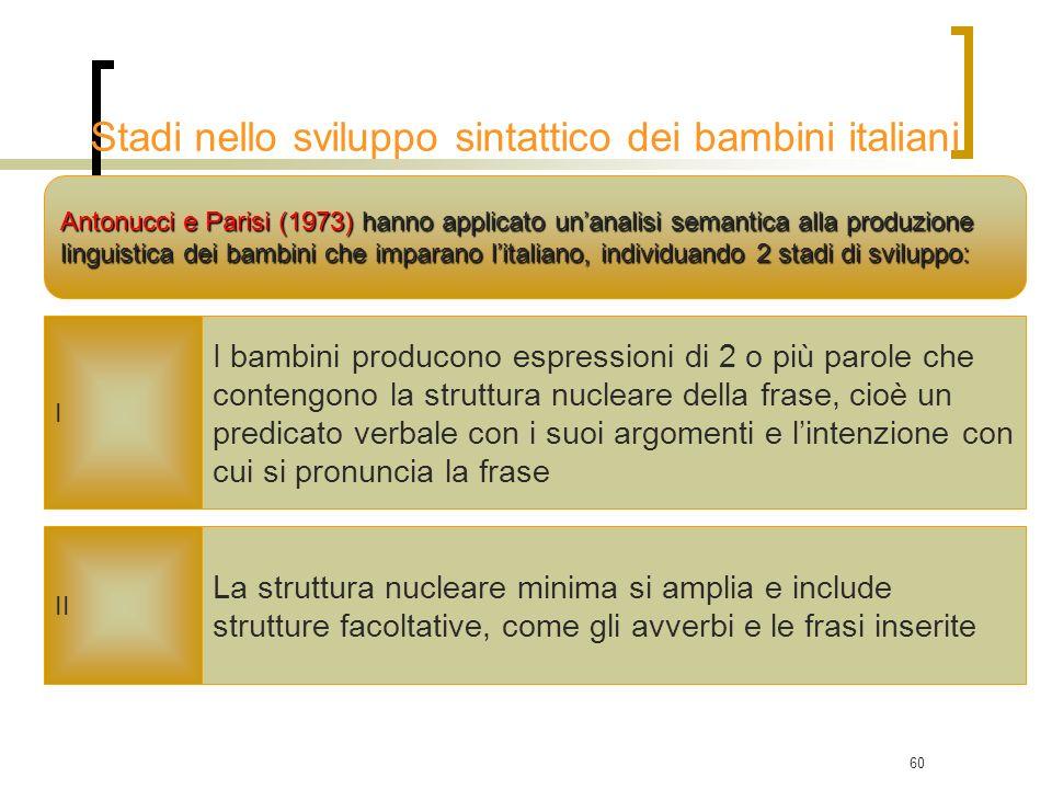 60 Antonucci e Parisi (1973) hanno applicato unanalisi semantica alla produzione linguistica dei bambini che imparano litaliano, individuando 2 stadi