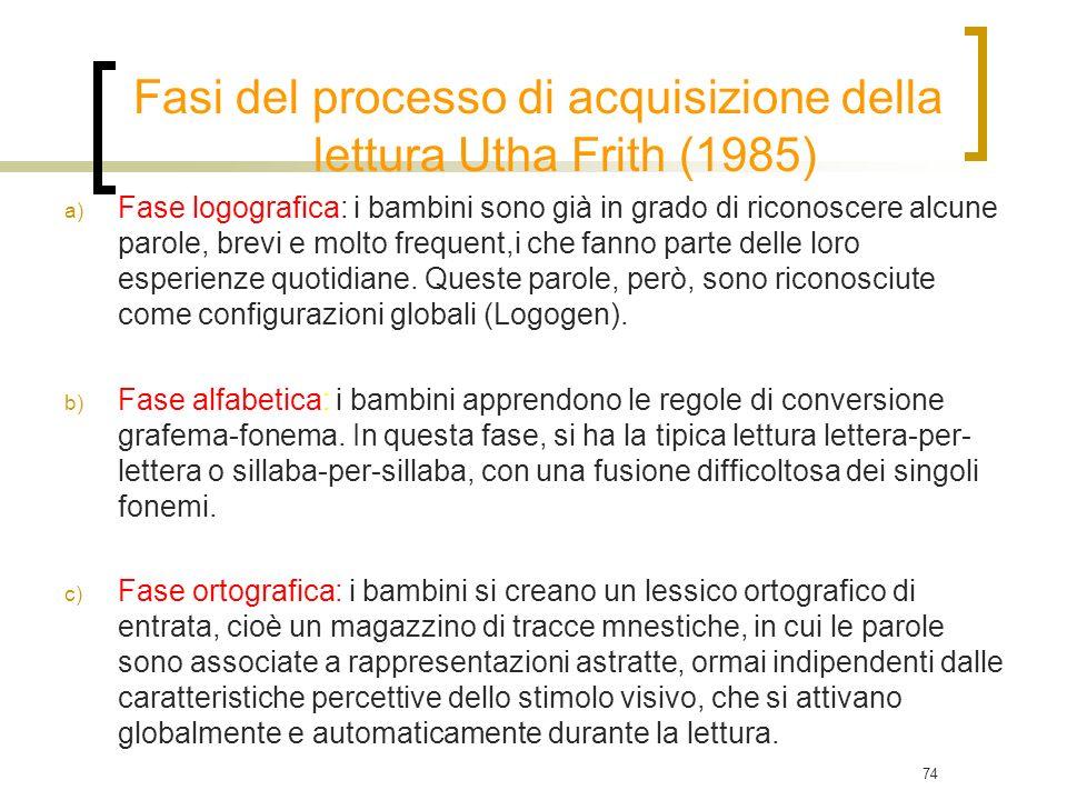 74 Fasi del processo di acquisizione della lettura Utha Frith (1985) a) Fase logografica: i bambini sono già in grado di riconoscere alcune parole, br