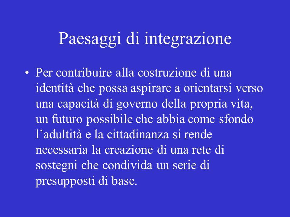 Paesaggi di integrazione Per contribuire alla costruzione di una identità che possa aspirare a orientarsi verso una capacità di governo della propria