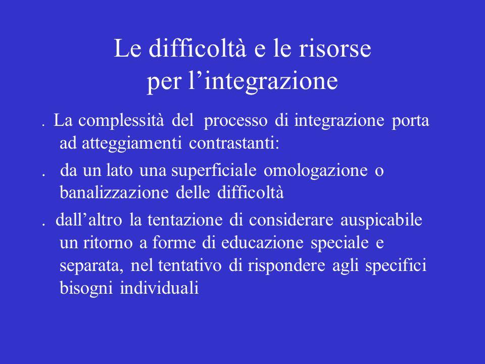 Le difficoltà e le risorse per lintegrazione. La complessità del processo di integrazione porta ad atteggiamenti contrastanti:. da un lato una superfi