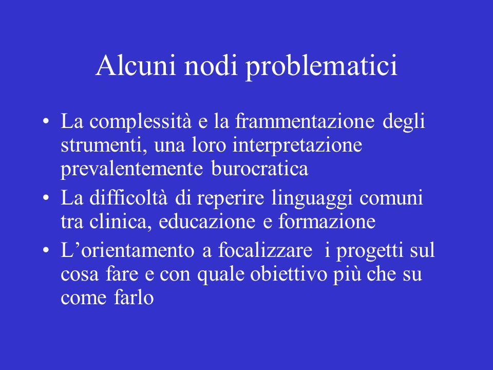 Alcuni nodi problematici La complessità e la frammentazione degli strumenti, una loro interpretazione prevalentemente burocratica La difficoltà di rep